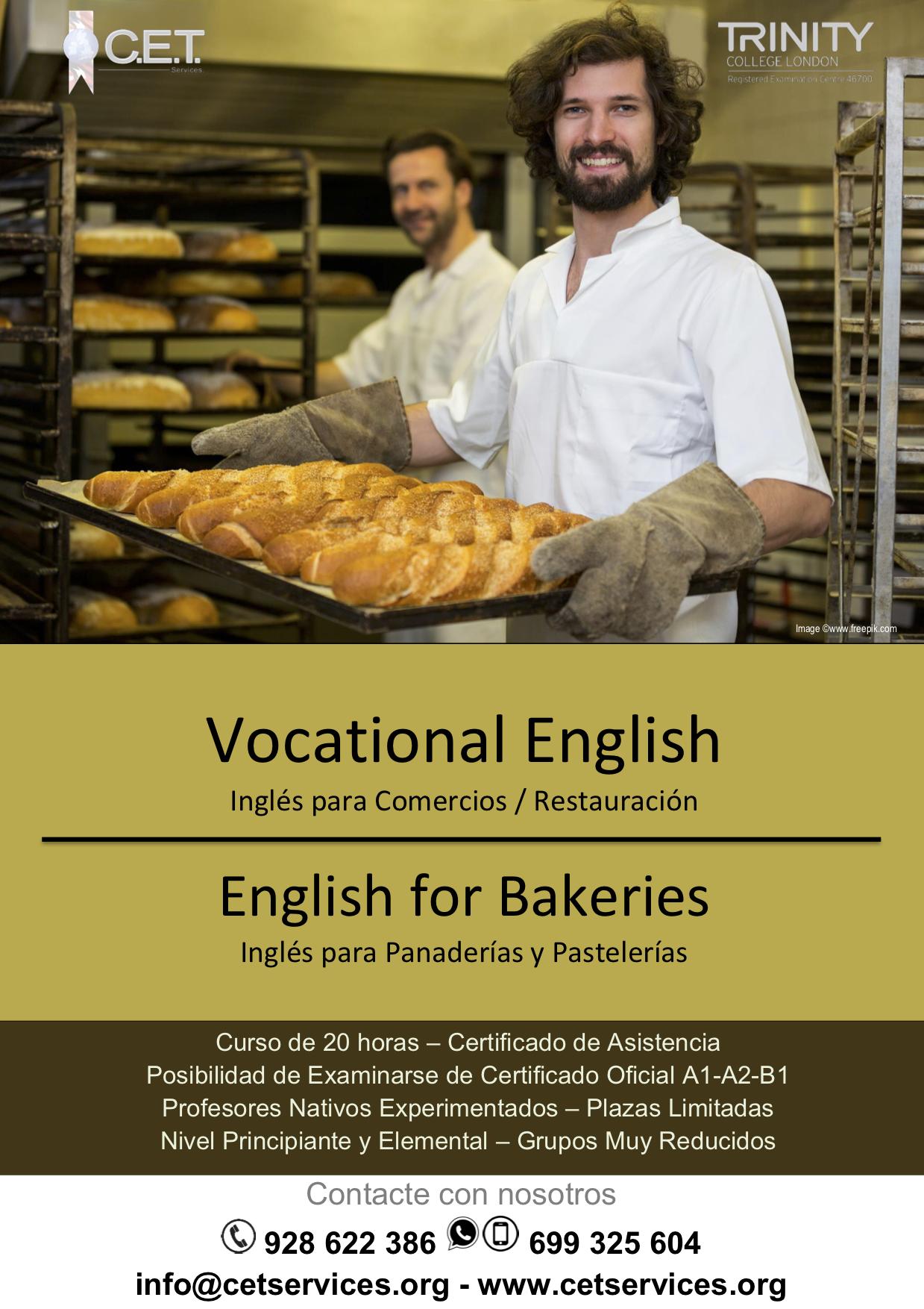 Inglés para Panaderías y Pastelerías – C E T  Services